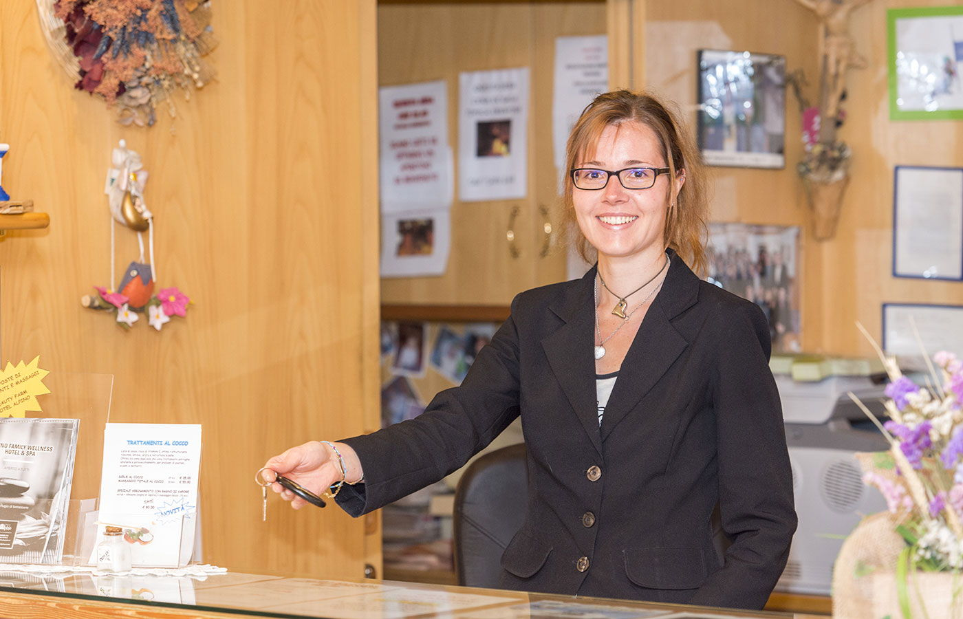 The kind and helpful receptionist of Hotel Alpino