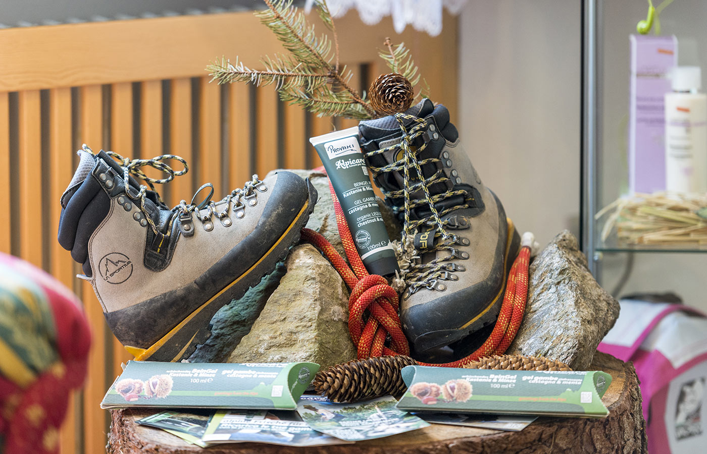 Hiking boots and mountain equipment at Hotel Alpino